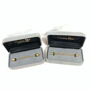 VTG CHRISTIAN DIOR GOLD TIE BARS BRAND NEW IN BOX